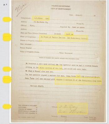 Registro de prisão de Rosa Parks