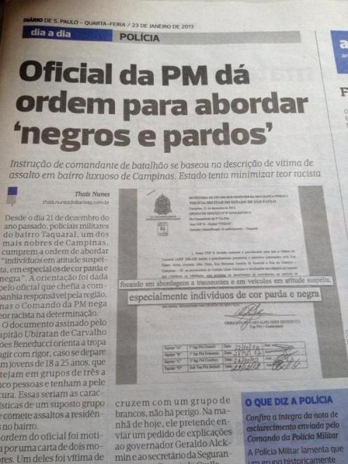 Oficial da PM dá ordem para abordar negros e pardos