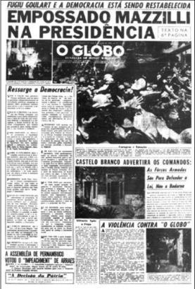 Editorial de O Globo, um dia após o Golpe Militar de 1964.