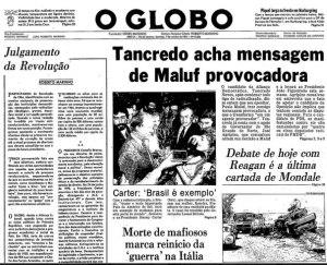Detalhe da capa de O Globo, de 7 de Outubro de 1984. Fonte: O Globo.