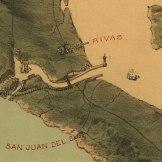 Detalhe do lado do pacífico do canal no mapa de 1870. Fonte: Library of Congress.