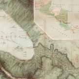 """Detalhe de um mapa de 1858 contendo um """"inset"""" ilustrando a localização do Canal na América Central. Fonte: Coleção de Mapas de David Rumsey"""