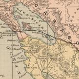 Página de um Atlas de 1885 ilustrando a rota do Canal através da Nicarágua. Fonte: Coleção de Mapas de David Rumsey.