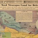 Mapa de 1939 do San Francisco Examiner argumentando a necessidade de uma alternativa no caso de o Canal do Panamá ser atacado ou sabotado. Fonte: Coleção de Mapas de David Rumsey.